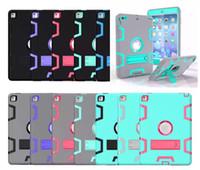 al por mayor mini ipad niños cubiertas-3 en 1 los cabritos a prueba de choques PC + Robot híbrido de goma protegen el protector de la pantalla Caso resistente con la cubierta del soporte para el ipad 2 3 4 5 6 air pro mini