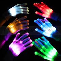 Wholesale Fedex DHL Free Colorful LED Gloves Rave Light Finger Lighting Flashing Gloves light up glove For Party Unisex Gloves Z356
