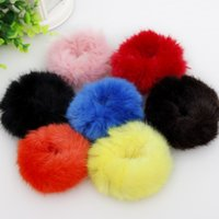Wholesale Sweet Candy Color Korean Style Solid Fuzz Ball Elastic Hair Bands Girls Hair Accessories for Women Headwear