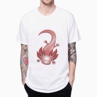 albino animals - Albino Axolotl T shirt D PRINTED CARTOON MEN S SHORT SLEEVE O NECK T SHIRTS MALE HIP HOP TOP TEES