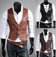 Wholesale New rock n roll Leisure Zipper PU leather Cardigan Vest Men s top wear Clothing Casual Sleeveless vest