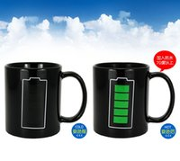 best battery picture - DHL shipping free best gift Battery picture black ceramic color changing magic coffee mug tea cup
