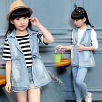 Wholesale 2016 New spring autumn girls denim costume classic T children long waistcoats casual blue denim vest coats for girls