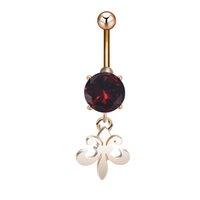 australian crystal jewelry - Australian Button Rings Red Crystal Jewelry Pendant Belly Button Piercing Zirconia Fleur De Lis New Piercings By Coolbody