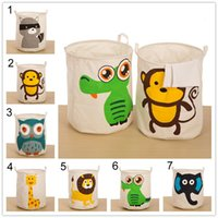 Wholesale Zakka Cartoon Multifunction Animals Large Storage Laundry Hamper Clothes Basket Storage Bucket Receive Beam Barrels Toy Bin Cotton and linen