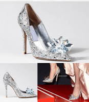Wholesale Cinderella Heroine Lily James Silver Crystal Beaded Formal Occasion High Heel Shoes with Rhinestone Ponited Toe Wedding Shoes New BO7932