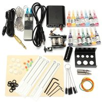 Cheap Professional 1 Set 90-264V Complete Equipment Tattoo Machine Gun 14 Color Inks Power Supply Cord Kit Body Beauty DIY Tools