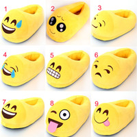 Wholesale Emoji Novelty Slippers Emoji Poops Smile Facial Soft QQ Expression Home Winter Plush Shoes Kid Women Men Embroidery Cotton Christmas Gift