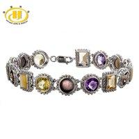 amethyst tennis bracelet sterling - Natural Multi color Gemstones Solid Sterling Silver Link Tennis Bracelet for Women Fine Jewelry Citrine Amethyst Qaurtz