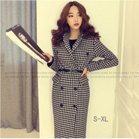 Wholesale 2016 New Design Women Wool Coat Turn down Collar Plover Case Double breasted Trench Coat Office Fashion Lady Blends dress N02