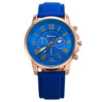 belt buckle supply - 2016 Womens Watches Luxury Geneva PU belt watchband derivative supply Rome digital watch in three eyes six male female needle dial watch