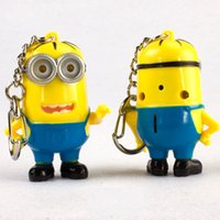 Wholesale 2016 New Types Minion LED Light Keychain Key Chain Ring Flashlight Torch Sound Toy Despicable Me Cute Promotion Gift Kids Christmas Gift
