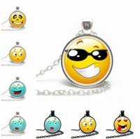 Mexican 14k gold necklace - New Arrival Lovely Emoji Glass Pendant Necklace For Women Silver Plated Color Chain Choker Necklace Jewelry For Women style pack