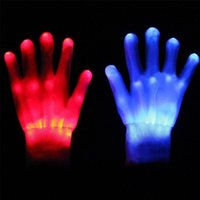 Wholesale Pair LED Gloves Flashing Skull Led Fiber Magic Gloves Light Gloves Finger Light Gloves for Halloween Event Party