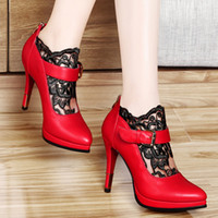 b gauze - Quality Assurance Woman Fashion Lace Gauze Shoes High Heels Imported Material Exquisite Metal Buckle Party Dress Shoes