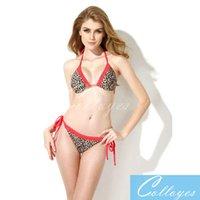 best bikini bottoms - BEST Seller Leopard Red Lace Triangle Sexy Bikini Swimwear with Classic Cut Bottom Bikini suit sexyAdjustable Halter Straps cup bandini