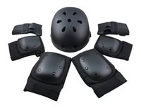 adult skate helmets - Adult kids skidding safety set sports knee pad elbow pad wrist guard and helmet skating protective gear S M L