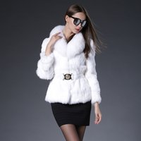 belted overcoat - 2016 new Real rabbit fur jacket belt coat rabbit fur black white fur overcoat real rabbit fur coat real fox collar