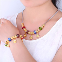 bead napkin rings - set table napkin rings DIY Beads Necklace Set Trendy New K Real Gold Plated Colorful Crystal Flower Necklace Bracelet Jewelry Set