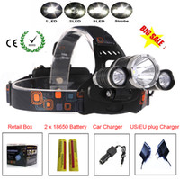 Wholesale 3 LED Headlight Lumens C XM L T6 Head Lamp High Power LED Headlamp mah battery Charger car charger
