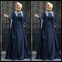 arabian robes - Robe de soiree Saudi Arabian Navy Blue Arabic Evening Dresses Appliques Abaya Dubai Full Sleeve Muslim Moroccan Kaftan