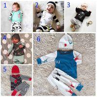 b t design - 6 Design Baby INS Christmas Suits DHL children cartoon elk fox stripe Short sleeve T shirt trousers Suit cartoon pajamas Suits B