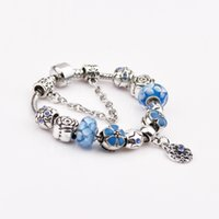Wholesale Charm Bead Fit European Pandora Bracelets Jewelry Fashion New Arrival Silver Plating Pink Flower Cluster For Women Party Gift