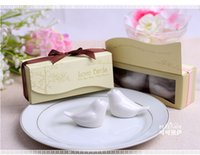 Wholesale 2016 Love Birds In The Window quot Ceramic Salt Pepper Shakers Wedding Favors boxes