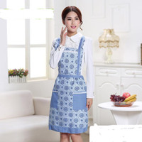 Wholesale Hot Wholesales New Chef Waiter Print Bib Apron Kitchen Restaurant Cooking Aprons With Pockets Cooking Tool