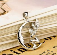 amazon jewelry sale - Amazon supply S925 Sterling Silver Moon Angel Necklace European fashion pendant jewelry sales