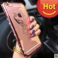 Wholesale Newest for iPhone S Plus S Plus Luxury Soft Hybrid TPU Electroplating Bling Diamond Image Series Case with Retail box
