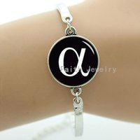 alpha picture - Greek symbol alpha bracelet glass dome simple style letter picture silver plated jewelry Greek letter series jewelry
