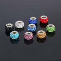 Wholesale New Sliver Plated Bead Charm Hollow White Flower With Rhinestone Crystal Beads Fit Women Pandora Bracelet Bangle DIY Jewelry b074