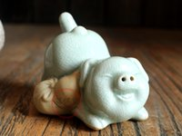 ceramic figurines - Chinese Mascot Ru Tea Pet Porcelain Figurines Earthenware Decorative Crafts Ceramic Pottery Ru Piggy