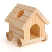 al por mayor accesorios de rata-Lindo linda jaula de pájaros de madera pequeños accesorios para mascotas Accesorios para el hámster Little Rat ratones Hideout Playhouse 10x10x11cm