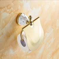 Wholesale And Retail Diamond Ceramic Base Golden Brass Bathroom Toilet Paper Holder Wall Mounted Cover
