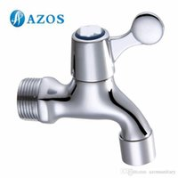 Wholesale AZOS Mop Bibcock Single Cold Wall Mounted Chrome Polish Outdoor Garden Tap Bathroom Basin Faucet Toilet Parts Replacement PJTB009