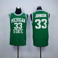 Wholesale Michigan State Spartans Magic Johnson College Jersey NCAA Green Stitched Mens Adult New