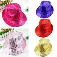 Wholesale Fashion Unisex Glitter Sequins Hat Dance Show Party Jazz Hat Cap Show Hat