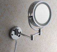 Wholesale quot Wall Mounted Round x x Magnifying Bathroom Mirror LED Makeup Cosmetic Mirror lady s private mirror BM003