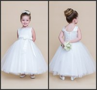 b t shirt - 2016 Simple Flower Girls Dresses Fit For You Jewel Covered Bottons Ankle length Included A Sleeveless B Capped Sleeve Formal