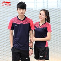 Wholesale LI NING Table Tennis Sport Set Tshirt Shorts Quick Dry Lining Table Tennis China Team sportswear AAYK317 AAYK188