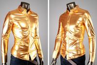 achat en gros de boutons de manteau d'or-Mens Trend Night Club recouvert métalliques Halloween Gold Silver Button Down Chemises élégantes brillantes manches longues pour hommes