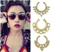 Wholesale Top sale fake nose ring jewelry fake septum Piercing clicker faux clip non piercing ear Hoop For Women