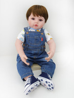 baby vinyl pants - 22 Inch Adora Baby Boy Doll Toy Soft Vinyl Collectible Toddler Reborn Baby Doll In Denim Pants Fashion Doll Gifts for Kids