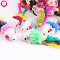 2016 Новое прибытие мягкого флиса Ложные Mouse Cat игрушки Красочные перо Смешные игры игрушки для кошек Kitten