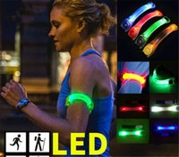 Wholesale Cheaper Price Flashing Glowing Bracelet Running Glowing LED Wrist Band Lights Warning Ring Walking Cycling Running Safety Armband