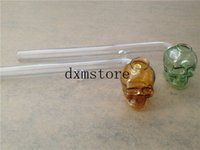 beautiful glass accessory - new colorful Skull Smoking Pipe oil burner Glass Pipes cm Length Handle Pipes Curved Mini Beautiful Smoking Pipe Cheap Smoking Accessories