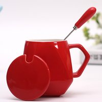 Wholesale Cute star milk cup with cover the cup of coffee mug cup ceramic cup custom LOGO creative lovers