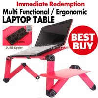 Wholesale Multi Functional Ergonomic foldable laptop table for bed stand E Table Portable Laptop stand with USB Cooler and mouse pad